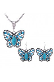 Set cercei si colier argintiu Cute Butterfly APT for YOU