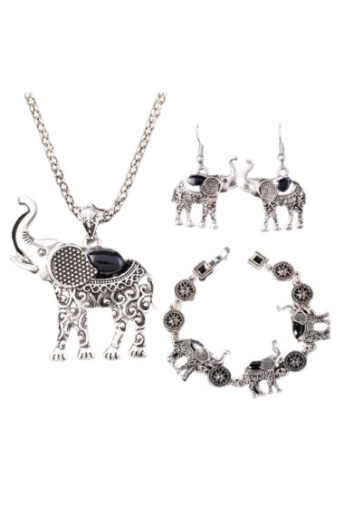 Set cercei, bratara si colier argintiu Lucky Elephant APT for YOU