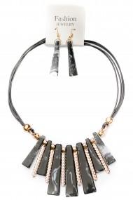 Set cercei si colier negru supradimensionat cu forme alungite APT for YOU