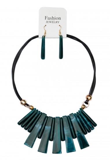 Set cercei si colier verde supradimensionat cu forme alungite APT for YOU