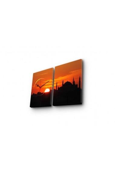 Ceas decorativ de perete(2 piese) Clockity ASR-248CTY1654 Multicolor