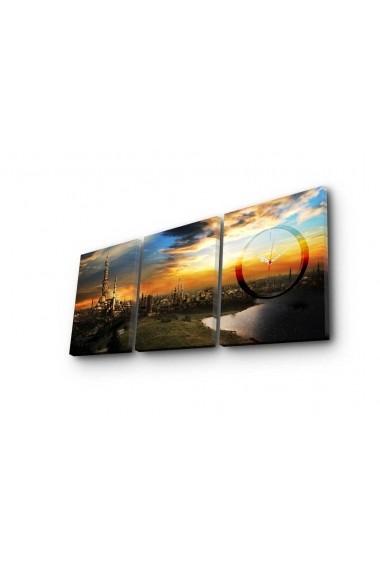 Ceas decorativ de perete(3 piese) Clockity ASR-248CTY1685 Multicolor