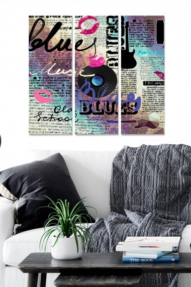 Tablou decorativ (set 3 piese) Bianca 553BNC1103 multicolor