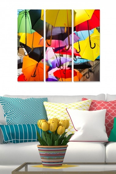 Tablou decorativ (set 3 piese) Bianca 553BNC1946 multicolor