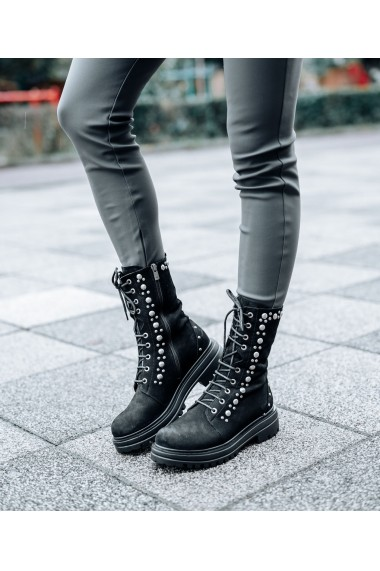 Ghete inalte Bigiottos Shoes piele naturala intoarsa