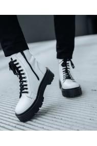 Ghete bocanci Bigiottos Shoes piele naturala alba Slash