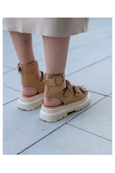 Sandale fara toc Bigiottos Shoes din piele naturala, Maro