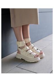 Sandale fara toc Bigiottos Shoes din piele naturala, Crem