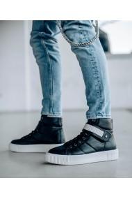 Ghete sport din piele naturala neagra Bigiottos Shoes