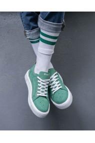 Pantofi sport din piele intoarsa verde Forest
