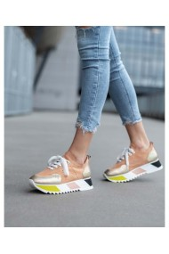 Sneakers nude din piele intoarsa