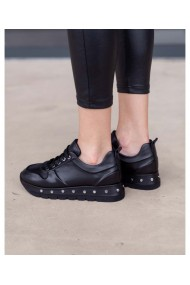 Sneakers negru din piele naturala cu tinte