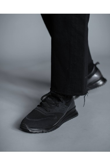 Adidasi negri din piele naturala si material textil Bigiotto's
