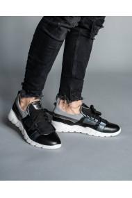 Adidasi barbati din piele naturala neagra Bigiotto's Shoes