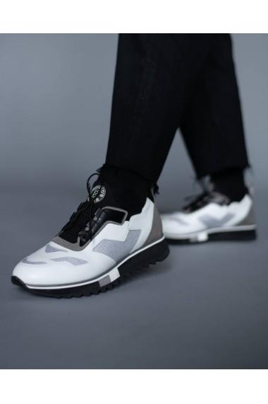 Pantofi sport barbati albi cu talpa neagra Bigiotto