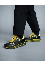 Pantofi sport din piele naturala neagra