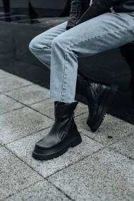 Ghete negre Bigiottos Shoes cu talpa inalta Scrivia