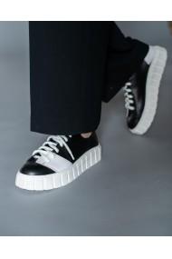 Pantofi casual alb negru din piele naturala