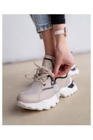 Sneakers trendy bej din piele naturala