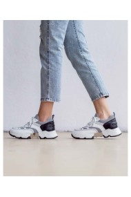 Sneakers fashion albi din piele naturala