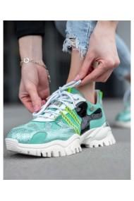 Sneakers din piele naturala verde