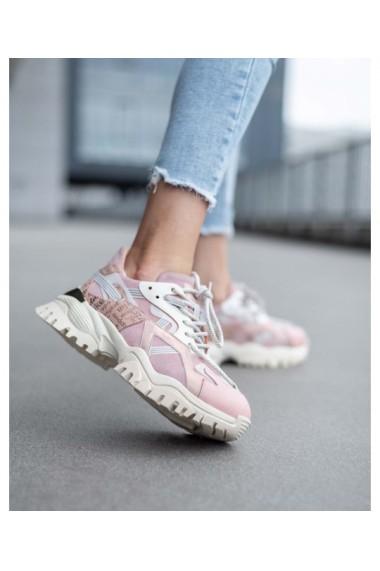 Chunky sneakers din piele naturala roz nude