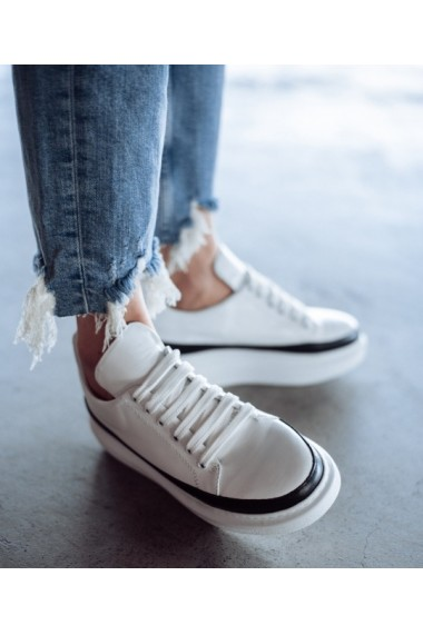 Pantofi sport piele naturala alba