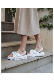 Sandale fara toc Bigiottos Shoes din piele naturala, Albe