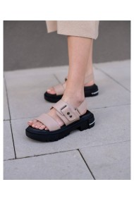 Sandale fara toc Bigiottos Shoes din piele naturala, Bej