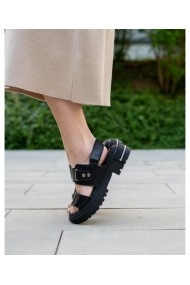 Sandale fara toc Bigiottos Shoes din piele naturala, Negru