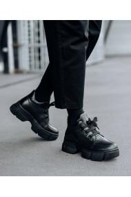 Ghete tip pantof din piele naturala neagra Misa