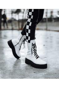 Ghete bocanci Bigiottos Shoes piele naturala alba Tasia