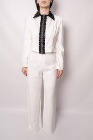 Pantaloni largi din vascoza Blancod Albi