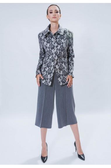 Pantaloni largi gri culottes