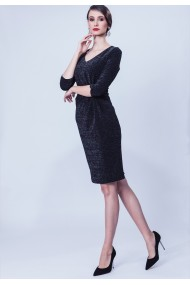Rochie neagra din lurex elastic