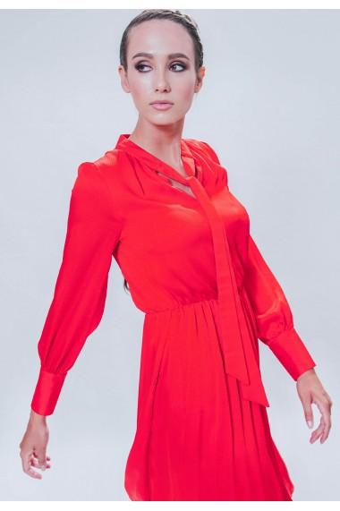 Rochie rosu corai din voal satinat