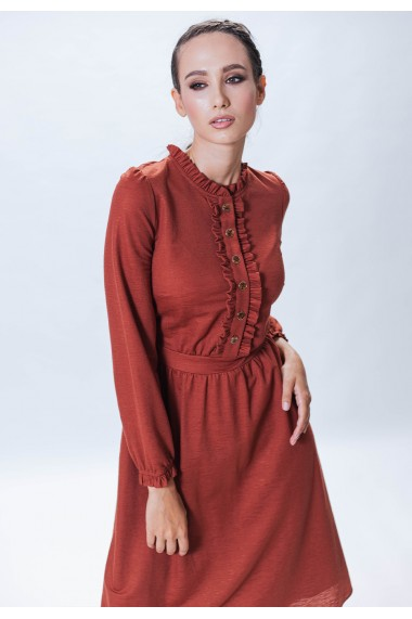 Rochie de zi Bel Punto din vascoza caramizie