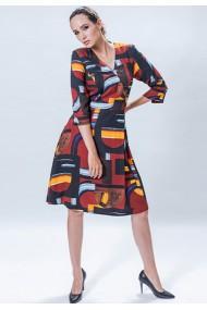 Rochie din vascoza cu imprimeu abstract