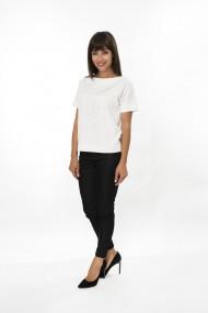 Top FORGET-ME-NOT model Woman top casual cu model cusut cu fir argintiu Alb