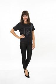 Top FORGET-ME-NOT model Woman top casual cu model cusut cu fir argintiu Negru