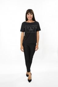 Top FORGET-ME-NOT model Butterfly top casual cu model cusut cu fir argintiu Negru