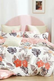 Asternut pat dublu, 6 Piese Dormipro JO1097 100% Bumbac Crem/Roz Floral