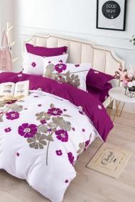 Asternut pat dublu 6 Piese Dormipro JO1135 100% Bumbac, Alb/Visiniu cu Flori