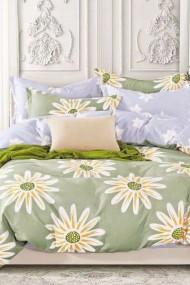 Asternut premium pentru pat dublu Dormipro NO156 100% Bumbac, Vernil, Tema Florala