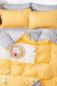 Asternut pat dublu 6 Piese Dormipro NO183 100% Bumbac Galben si Floricele