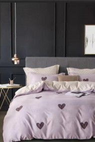 Asternut pat dublu Dormipro NO185 100% Bumbac Roz cu Inimioare