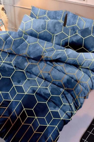 Asternut pat dublu 6 Piese Dormipro NO193 100% Bumbac Albastru