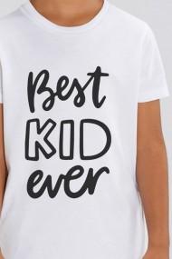 Tricou BEST KID pentru baieti, 100% Bumbac Organic, ALB, O501MTCB