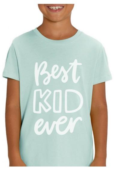 Tricou BEST KID pentru copii, 100% Bumbac Organic, Aqua Blue,O507MTCB