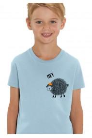 Tricou Hey Sheepy baieti, 100% Bumbac Organic, Sky Blue,O516MTCB